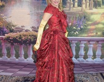 Victorian bustle gown in flocked taffeta