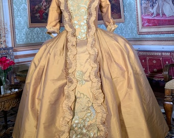 18th century colonial Rococo Baroque Georgian Marie Antoinette French sacque gown Robe a la Francaise Fetes Galantes gown