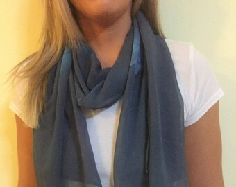 Blue Scarf with Flower Pattern