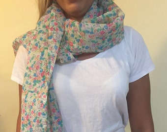 White Scarf with Flower Pattern