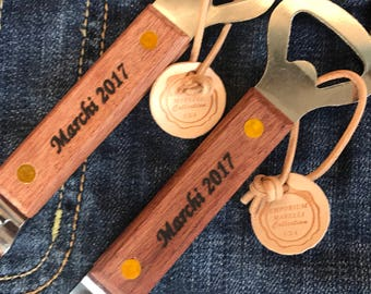Personalized  Bottle Can Opener/ Wooden Church Key / Can Opener Made in USA Gift/Souvenir/Bar/  Gift