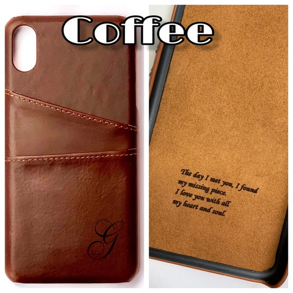 Apple iPhone Xs And Xs Max Real Leather Pocket Case Personalized With free  Logo, Image, Message, Monogram