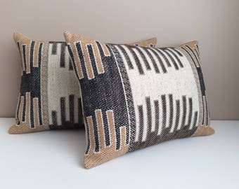 SET OF TWO Kilim Pillows  Robert Allen Fabric  Designer Pillows  Tribal  Pillows  Brown Pillows  Beige Pillows   Kilim Throw Pillows