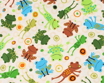 Frogs printed Fabric by Robert Kaufman by the Half Yard