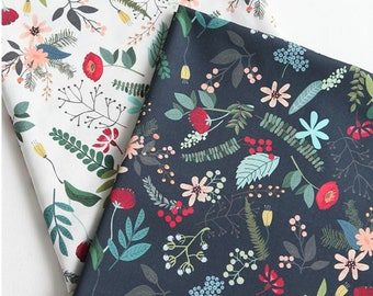 Forêt Amis couronnes marine par Mia CHARRO pour Mélange 100/% Coton Tissu