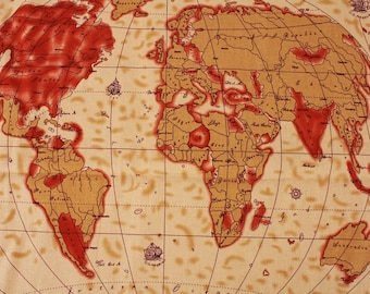 World map fabric etsy vintage world map patterned cotton linen 18 x 55 fabric made in korea by the half yard gumiabroncs Gallery