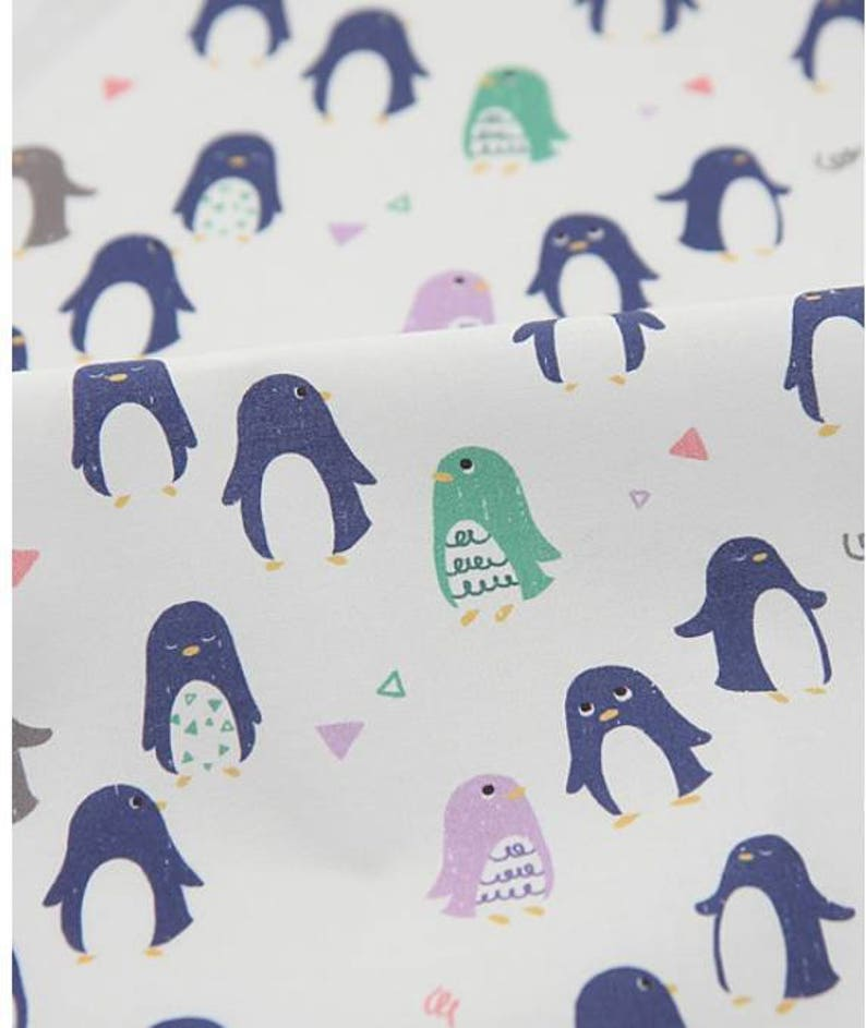 Penguin Patterned Fabric made in Korea by Half Yard Digital Textile Printing