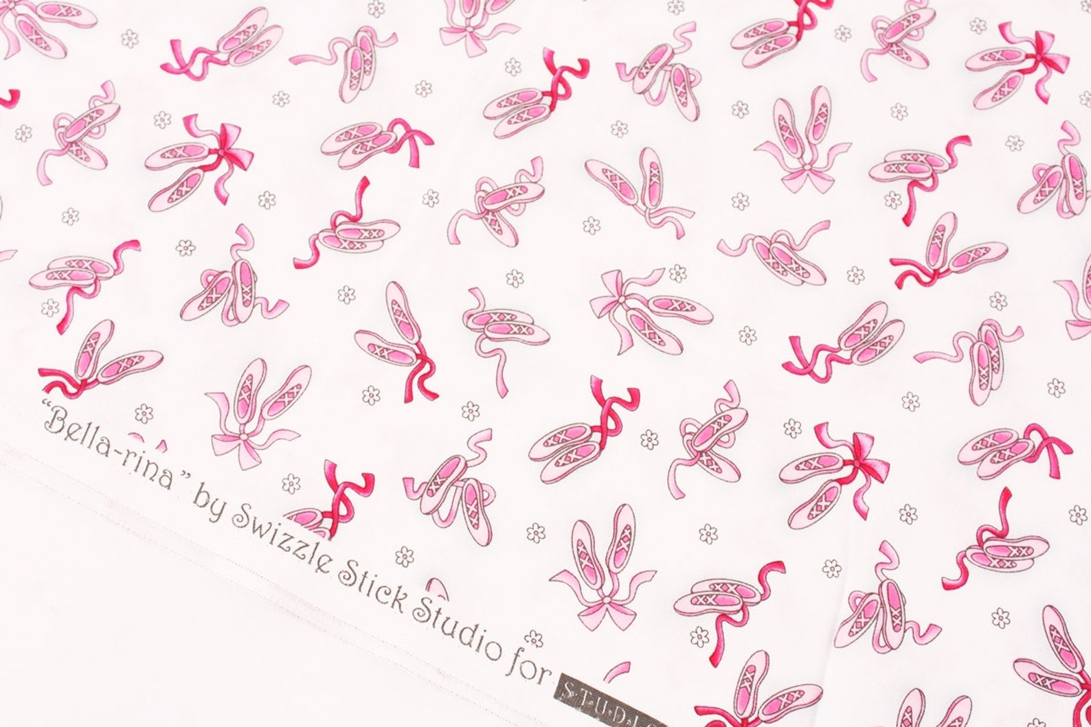 ballet shoes printed fabric by studioe fabrics by the half yard