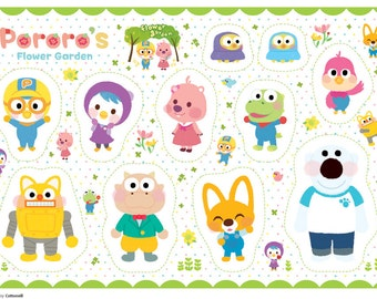 "The Little Penguin Pororo, Crong, Eddy, Loopy Petty Korean Anime Character Fabric made in Korea By the Yard , 90 X 150cm  36"" X 58"" Oxford"