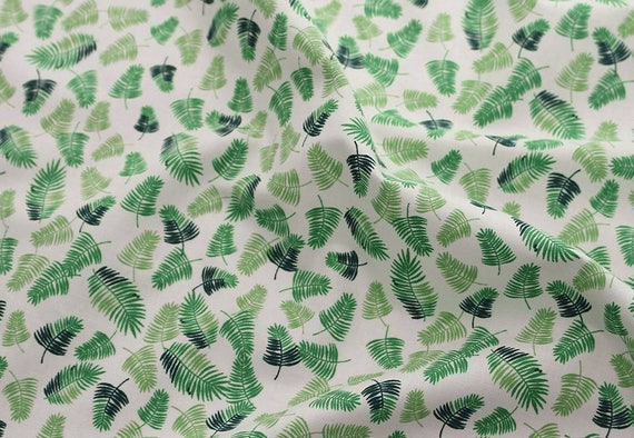 Tropical Leaf Patterned Fabric made in Korea By the Yard
