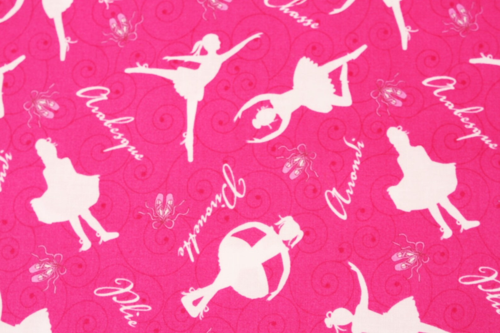 ballerina ballet shoes printed fabric by the half yard