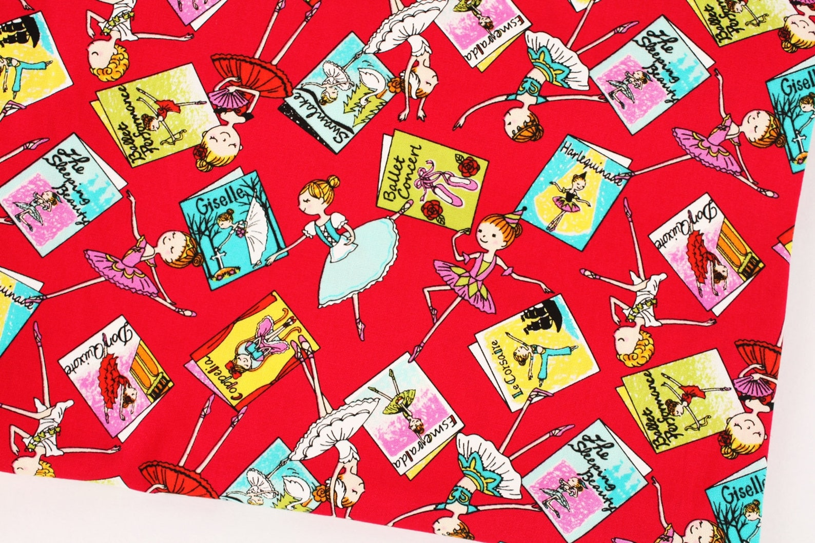 ballet ballerina printed fabric made in japan by the half yard