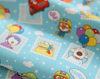 Penguin Pororo, Crong, Eddy, Loopy, Petty Korean Anime Character Fabric made in Korea, Half Yard