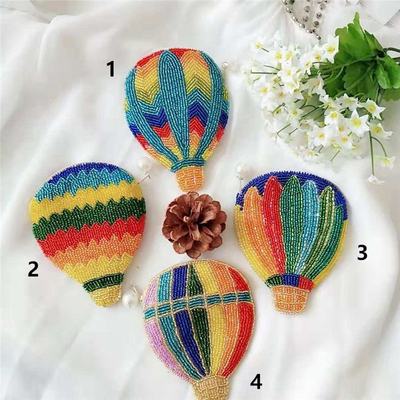 Beaded coin purse handmade beaded gifts for girls colorful fire balloon change purse