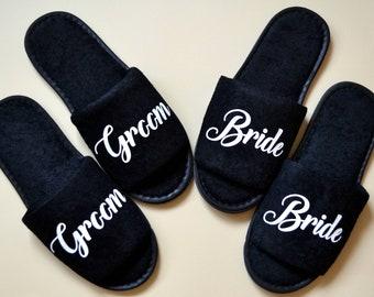 Wedding Slippers, Groom Slippers, Custom printed slippers for Groom, Black terry cotton slippers, Wedding Gift