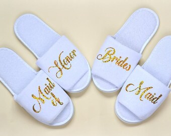 eae4cb4ddfe Bridesmaid Slippers Personalised Wedding Slipper Gold Print Custom slippers  Maid of Honor Bride Slippers