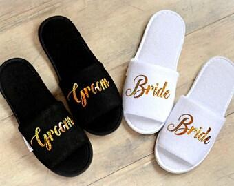 e8c51b2347bd3 Wedding Slippers Bride Slippers Groom Slippers Personalised custom slippers  Gold Glitter Print shoes Black slippers