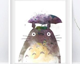 Totoro Art Print Watercolor Studio Ghibli My Neighbor Totoro Japan Miyazaki No Face Anime Manga Geek TV Nursery Decor Gift Digital Download