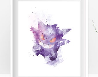 Gengar Watercolor Pokemon Prints Pokemon Art Pokemon Go Pokemon Gengar Pokemon Gift Pokemon Poster Wall Art Kids Nursery Instant Download