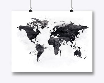 Black And White Map Art World Wall Home Office Decor Digital Print Gift For Mom Watercolor Download