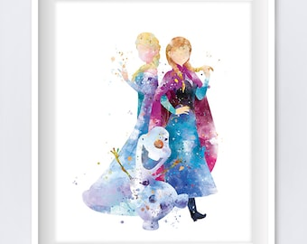 Anna Elsa Print Watercolor Princess Disney Anna Queen Elsa Etsy