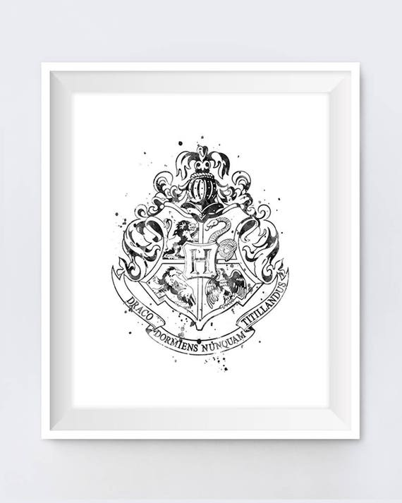 Hogwarts Crest Black And White Art Print House