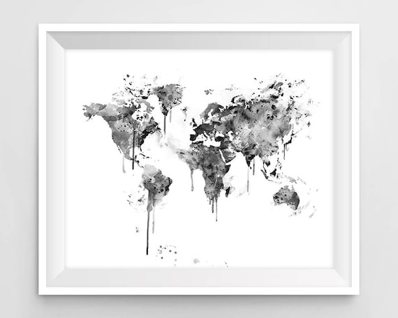 World Map Print Black And White Watercolor Travel Wall