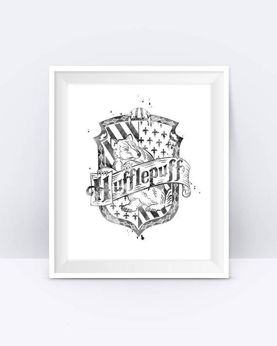 Hufflepuff Crest Printable Black And White Harry Potter | Etsy