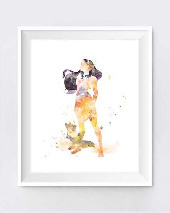 Pocahontas Print Princess Poster Watercolor Art