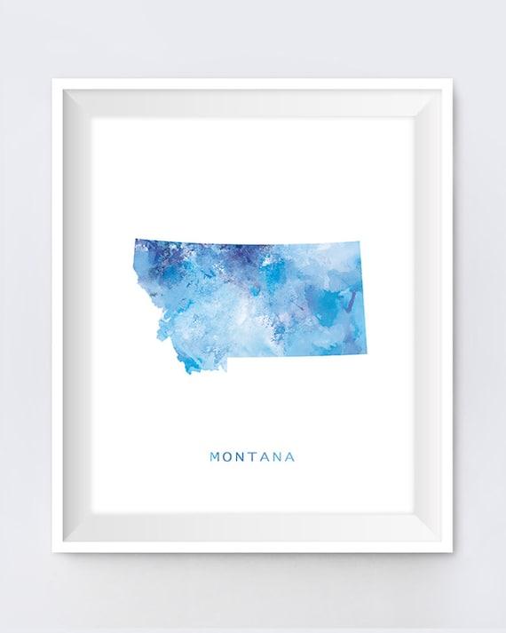 Montana Map Montana Watercolor Art Print Helena Montana Etsy