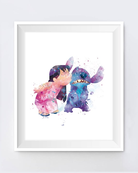 Disney inspired Lilo and Stitch poster print wall art gift ohana means family