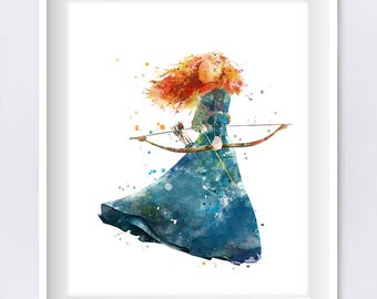 Merida Art Merida Print Watercolor Painting Disney Princess Brave Merida Printable Nursery Merida Wall Decor Gift digital download