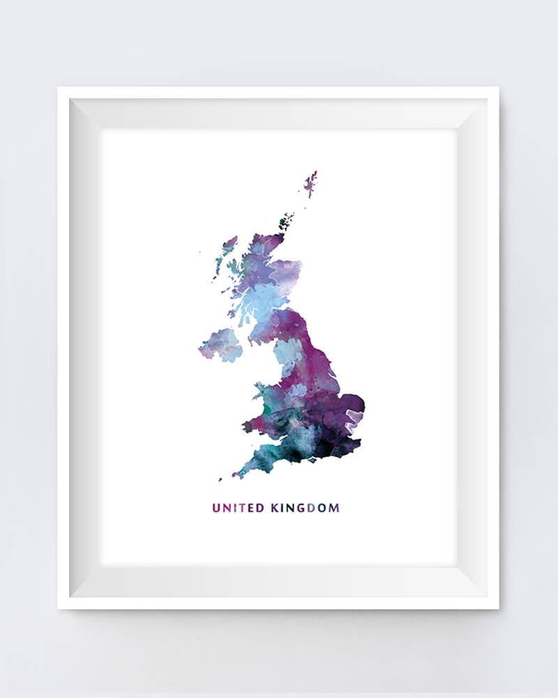 United Kingdom Map Print Watercolor London UK Wall Art United   Etsy