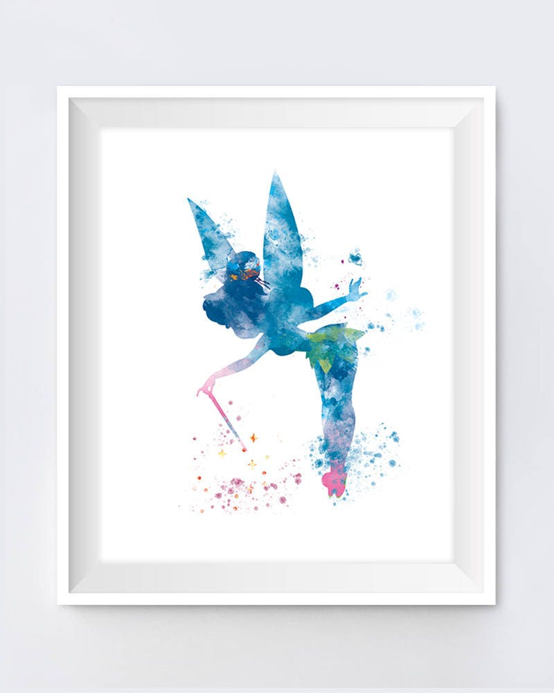 Pastel Colors for Wall Art Tinkerbell with Thimble Illustration Fine Art Quality Print Multiple Sizes