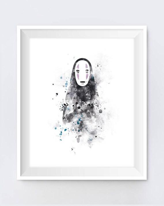 No Face Spirited Away Art Print No Face Art Haku Anime Gift Etsy