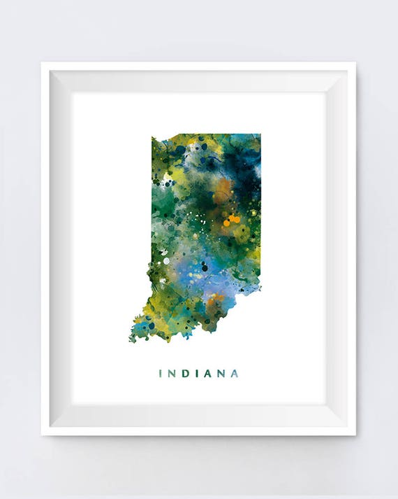 Indiana, Indiana Map, Art Print, Watercolor, USA, Indiana Parks,  Indianapolis, Poster, Travel, State Map, Painting, Gift, Wall Art, Download