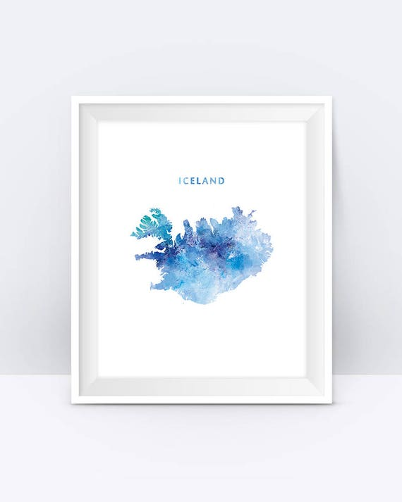 Karte Island Drucken.Island Karte Drucken Aquarell Island Poster Home Office Raum Dekor Karte Kunst Reykjavik Druck Stadt Gemalde Geschenk Wand Kunst Digital Download