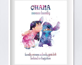 Stitch Ohana Means Family Quote Watercolor Art Print Lilo Disney Print Lilo and Stitch Party Nursery Gift Digital Download Movie