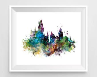 Hogwarts Castle Art Print Watercolor Hogwarts Poster Harry Potter Gift Movie Decal Artwork Cool Painting Niffler Kids Room Wall Art Download