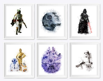 Set Of 6 Watercolor Star Wars Print  Boba Fett Art Printable Poster Darth Vader Birthday Gift Illustration Wall Art Home Kids Decor Download