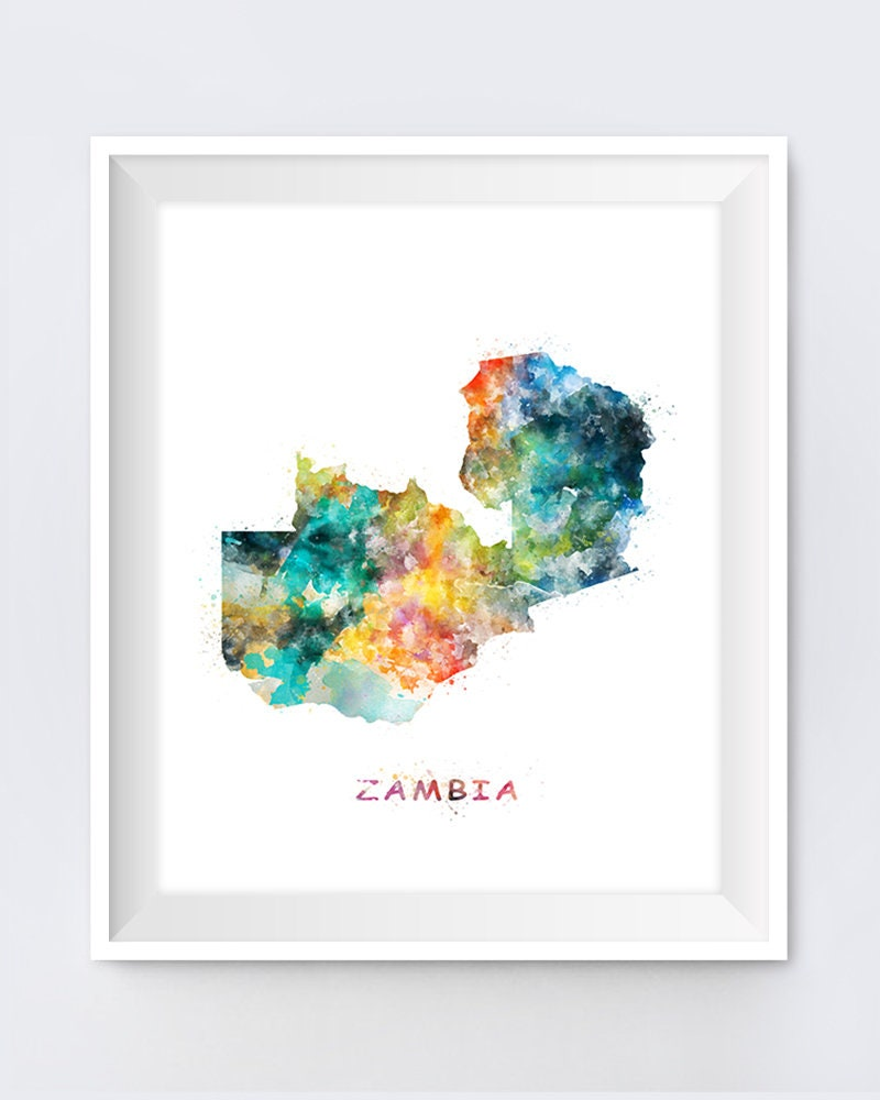 Zambia Map art poster print wall decor Travel Map office home Gift