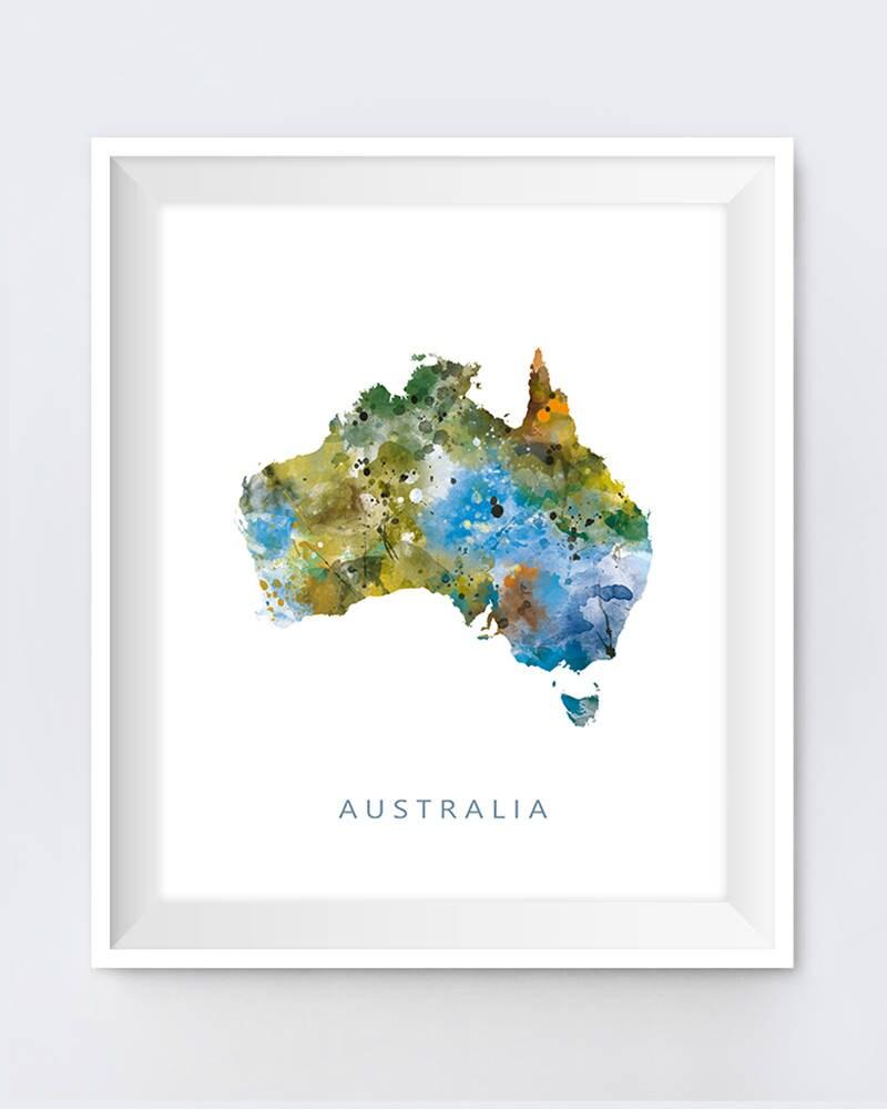 Australien Karte drucken Australien Poster Aquarell | Etsy