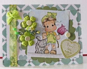 Mothers day card - Blank double greeting card - Hand colored - Main color card is green