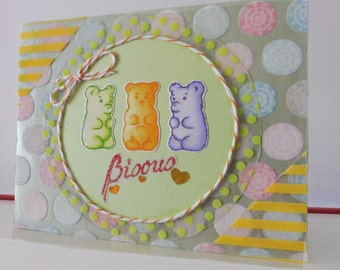 Candies card - Jelly bears card - Any occasion - Blank greeting card - Hand colored - Main color card is light green