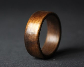 Dinosaur Bone and Fumed Aspen Wood Ring