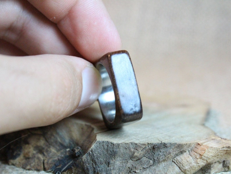 Mahogany and stainless steel ring