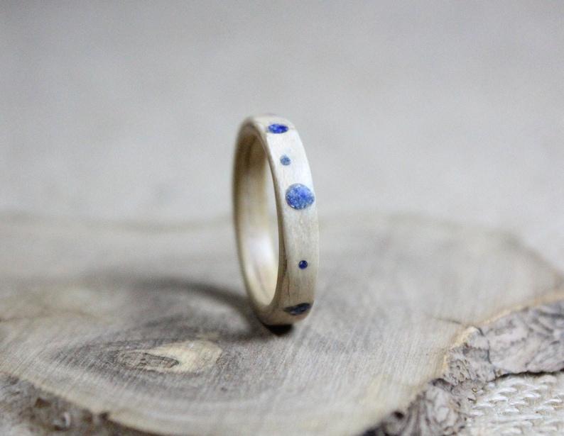 Lapis lazuli bentwood ring  Wood ring  Wooden ring  Bentwood ring for men  Wood wedding ring  Husband wedding band  Wife wood ring