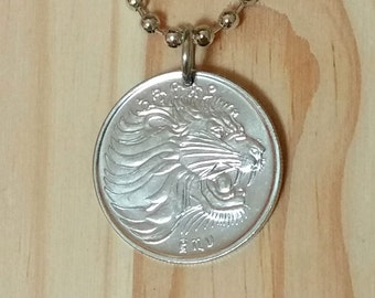 African Ethiopia animal coin African Ethiopia jewelry Lion coin Pendant Necklace Ethiopia 25 santeem Lion Head Coin Necklace charm