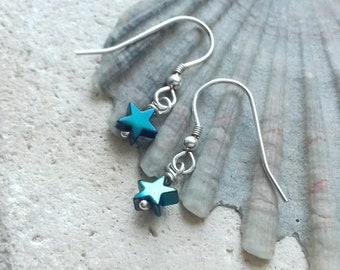 Green Star Hematite and Sterling Silver Hook Earrings