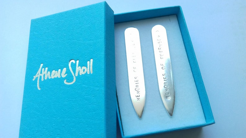 Men/'s Collar Stiffeners Personalised Sterling Silver Collar Stay Present for Him